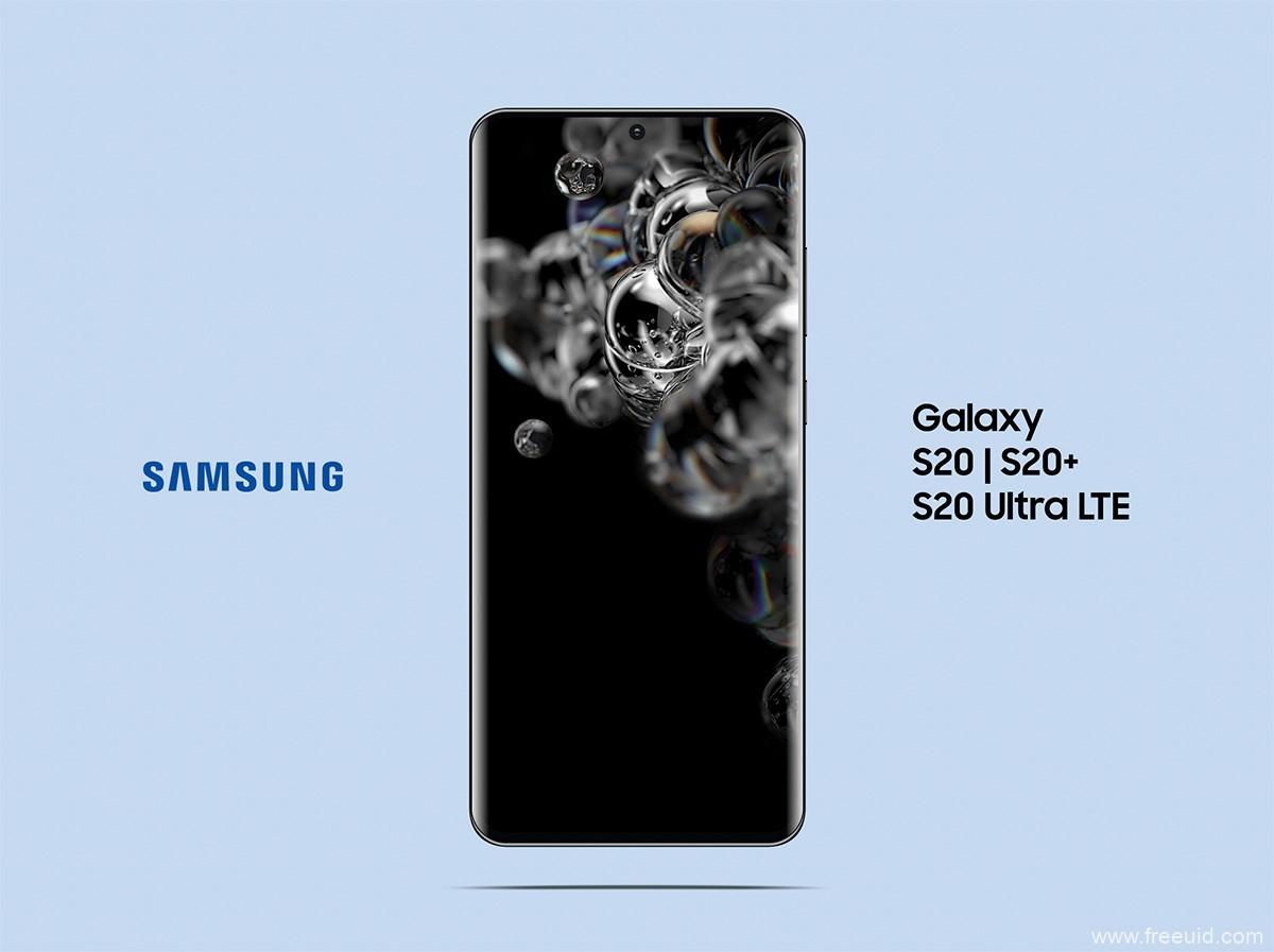 三星 Galaxy S20  S20+S20 Ultra 5G LTE Mockup PSD & Vector Ai
