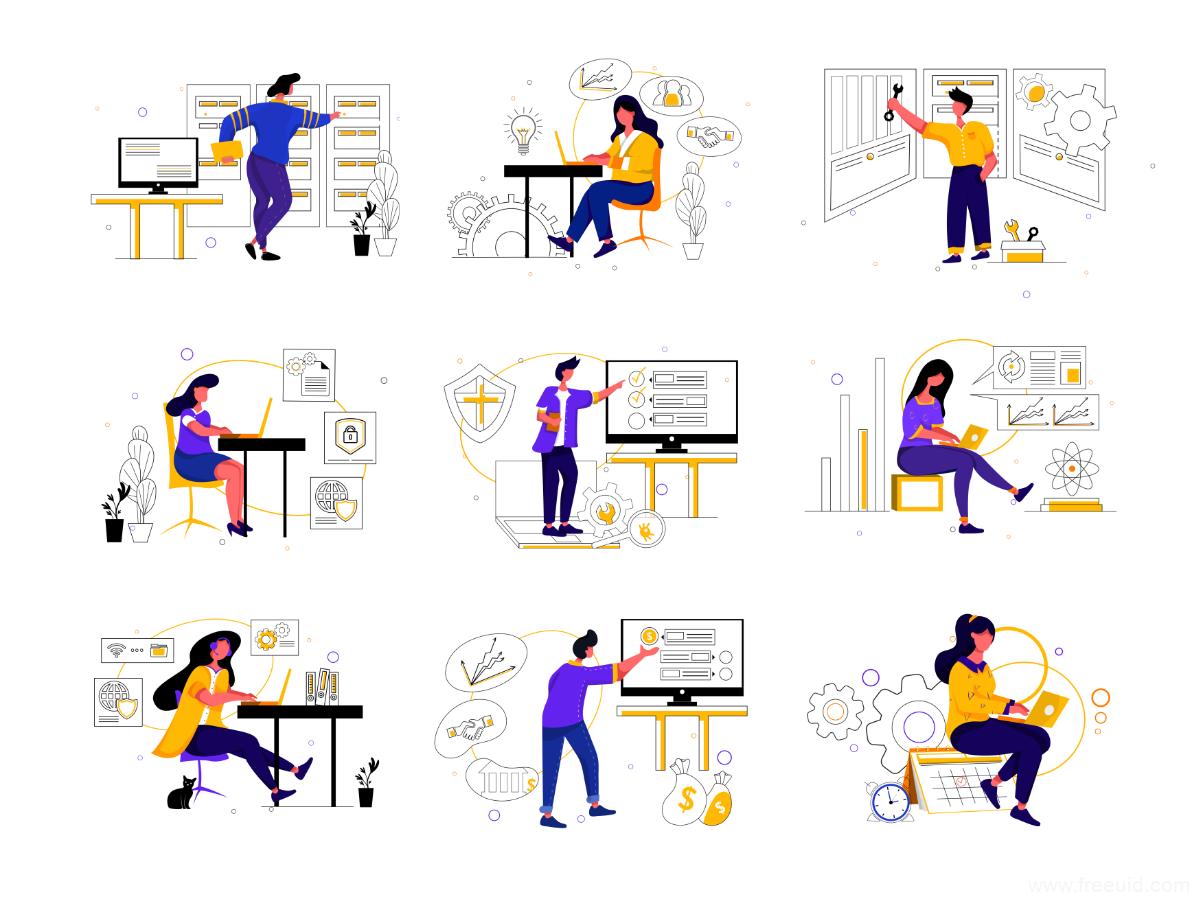 运营插画,互联网场景插画一套,运营插画ai源文件