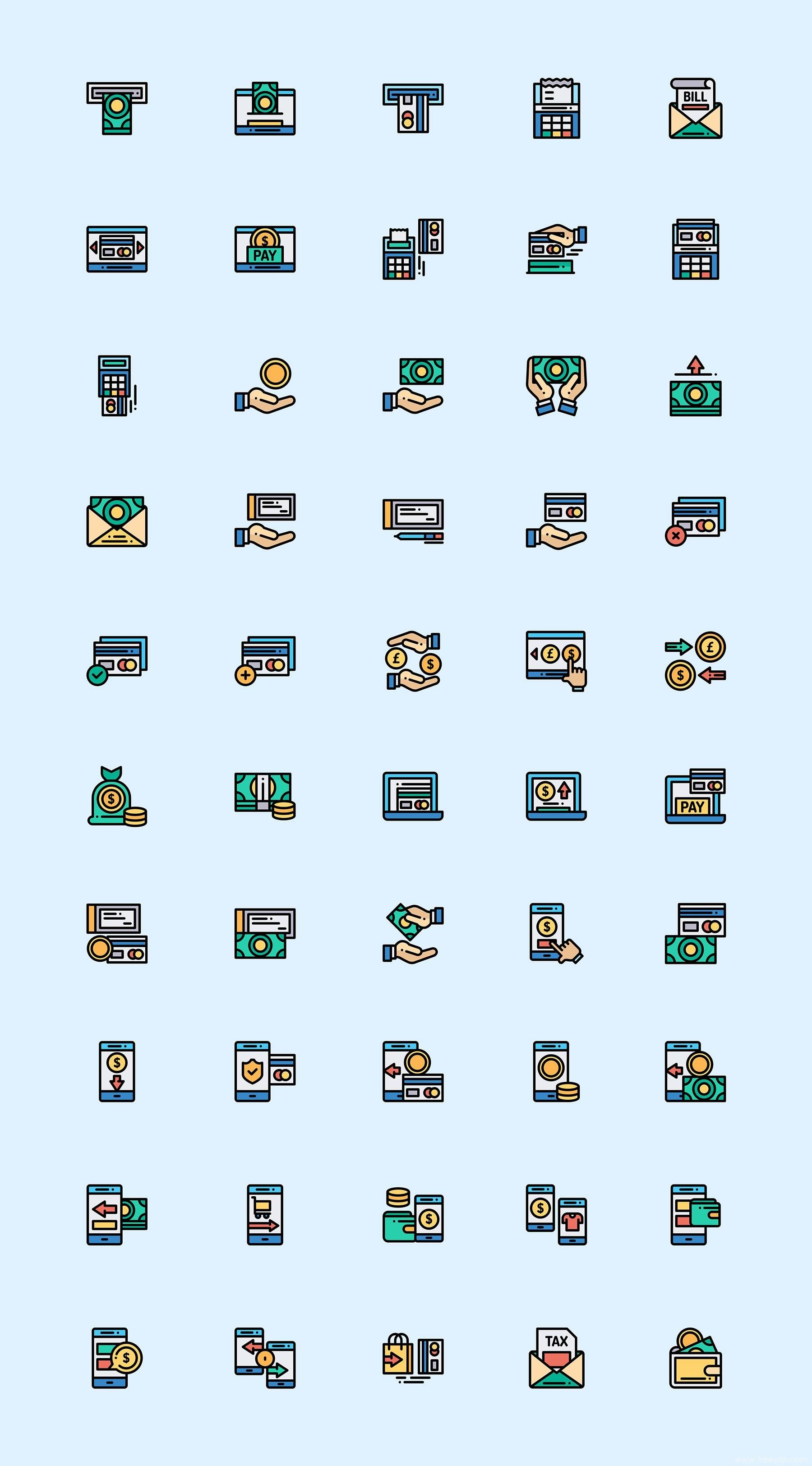 50 枚支付方式元素图标,彩色图标、源文件下载