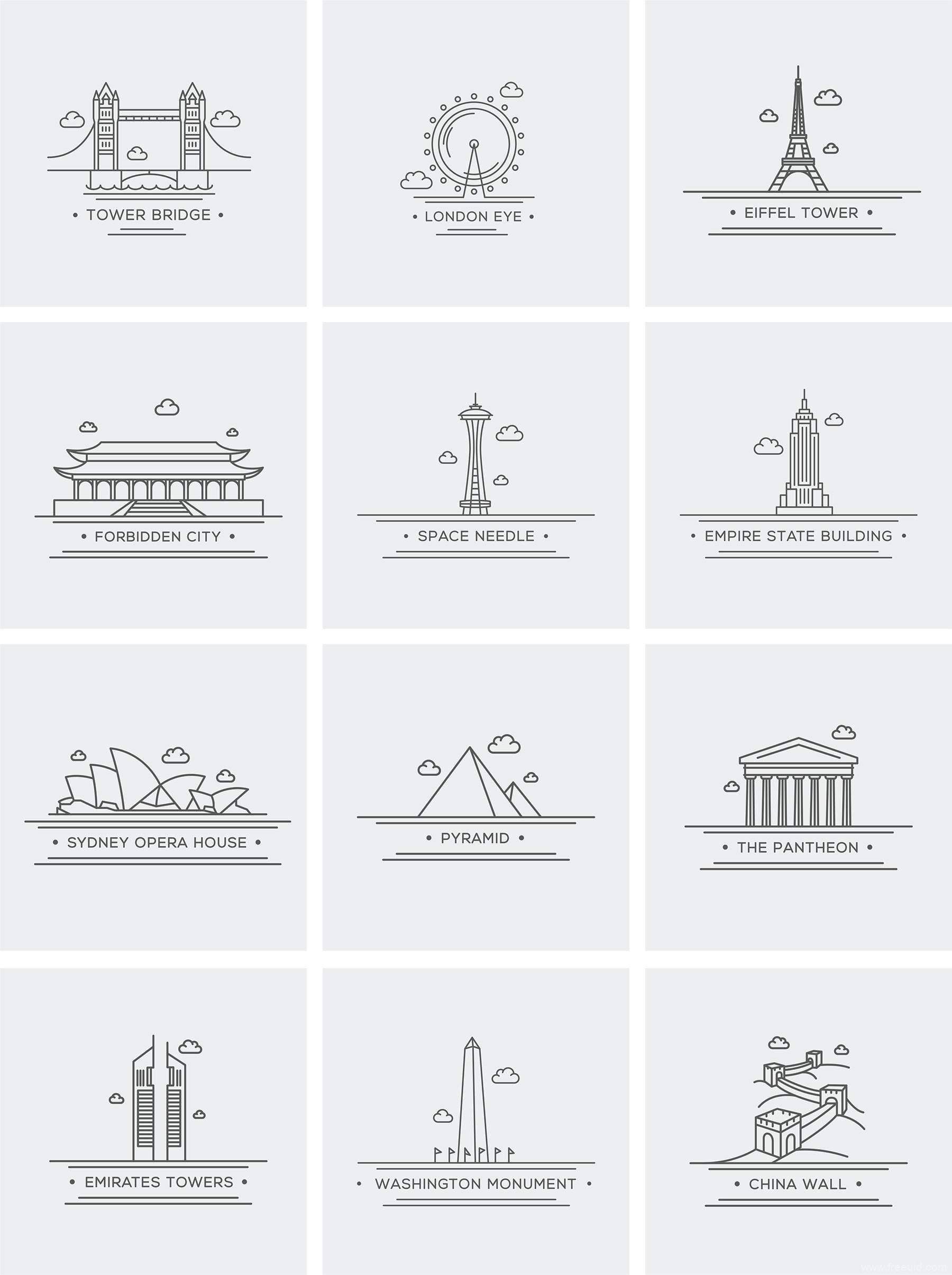 城市、地标、国外建筑图标源文件下载