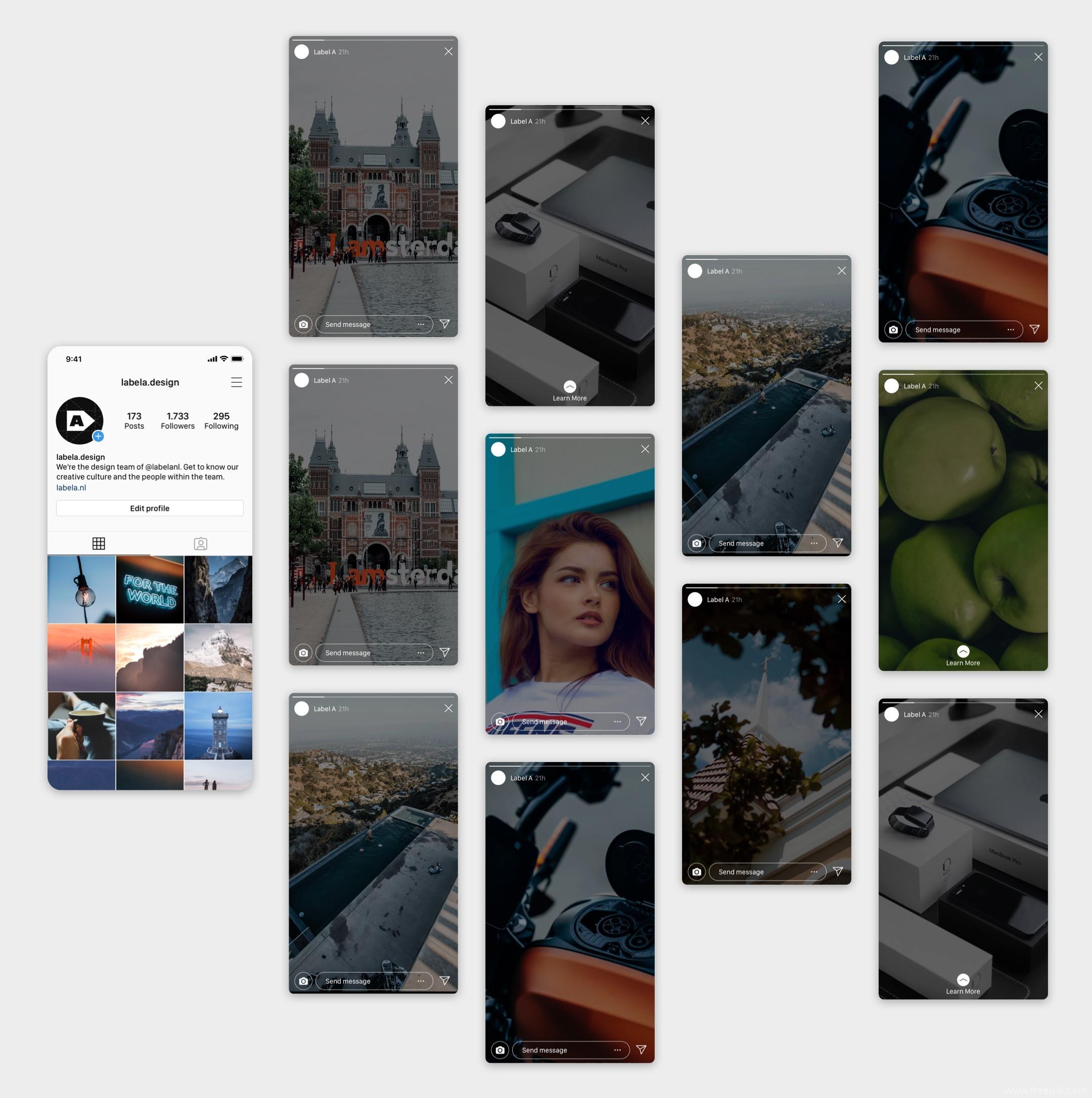 ins 图片社交app应用UI界面sketch源文件下载