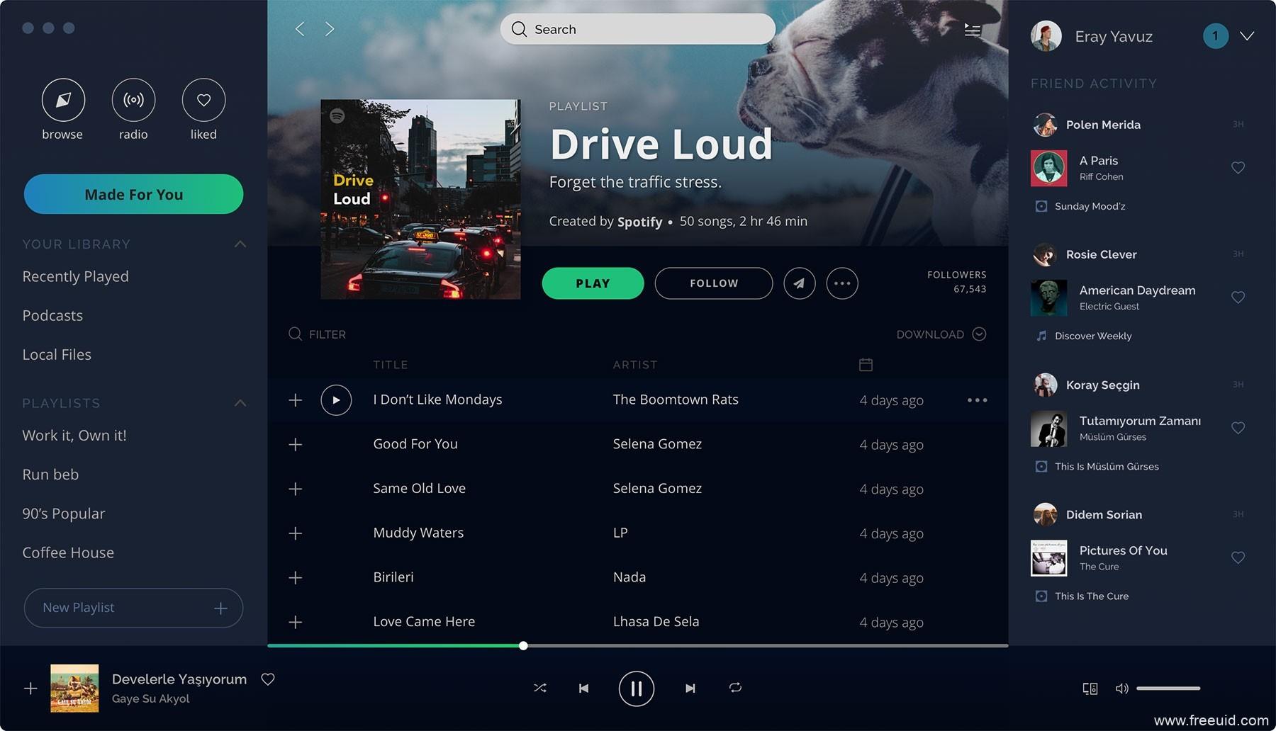 Spotify macOS 概念应用界面、音乐界面、暗色模式界面、sketch源文件下载