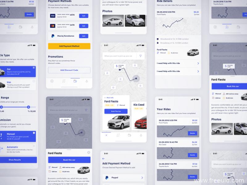 整套打车应用app界面、打车UI界面sketch源文件下载