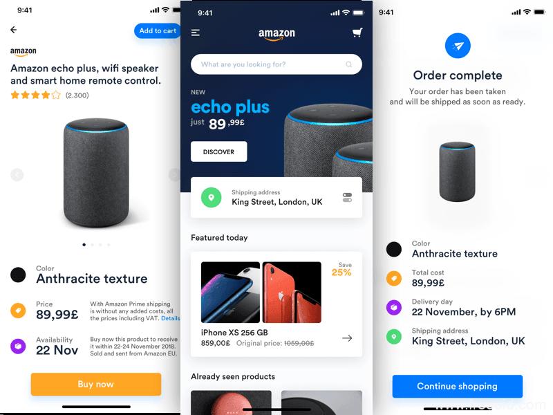 亚马逊电商应用app界面、电商应用UI界面