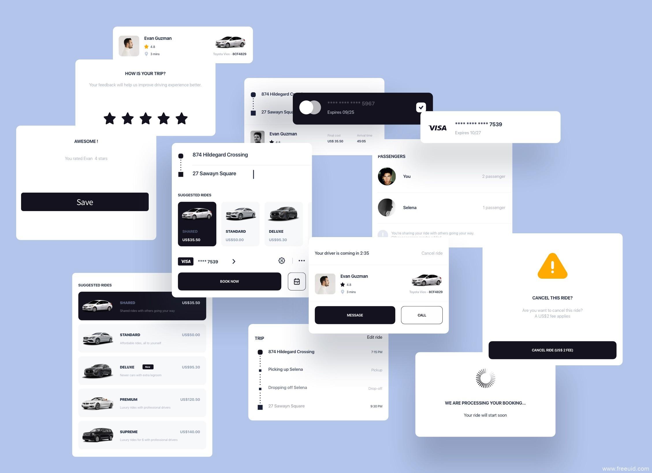 线上约车系统应用界面、租车系统UI kit源文件下载