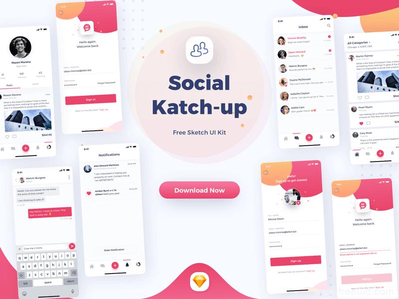 整套图片社交UI应用界面、社交类app应用程序界面sketch源文件下载