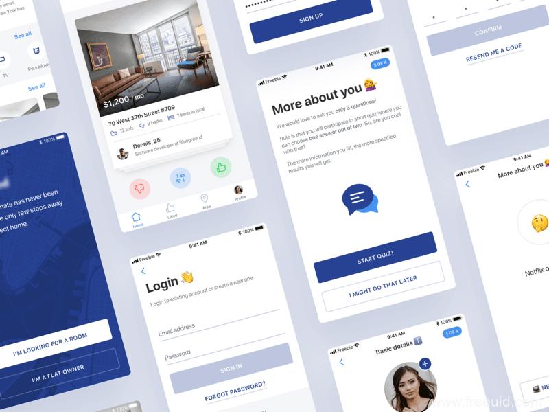 整套租房应用app界面、租房找室友UI界面sketch源文件下载