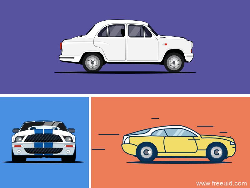 汽车扁平风插画、汽车插画sketch源文件