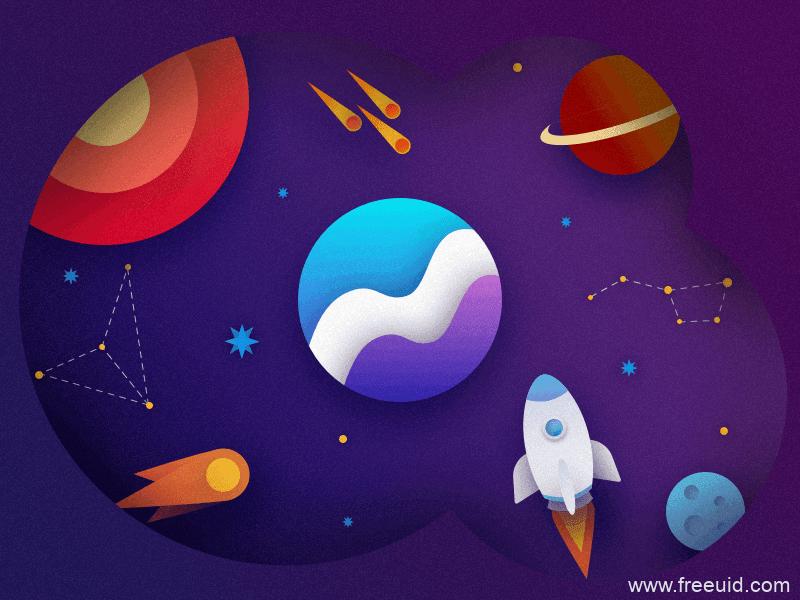 月球高端插画源文件免费下载