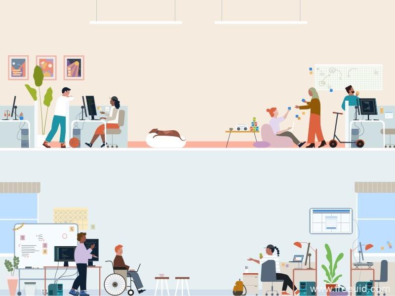办公场所运营风UI插画界面、插画banner设计