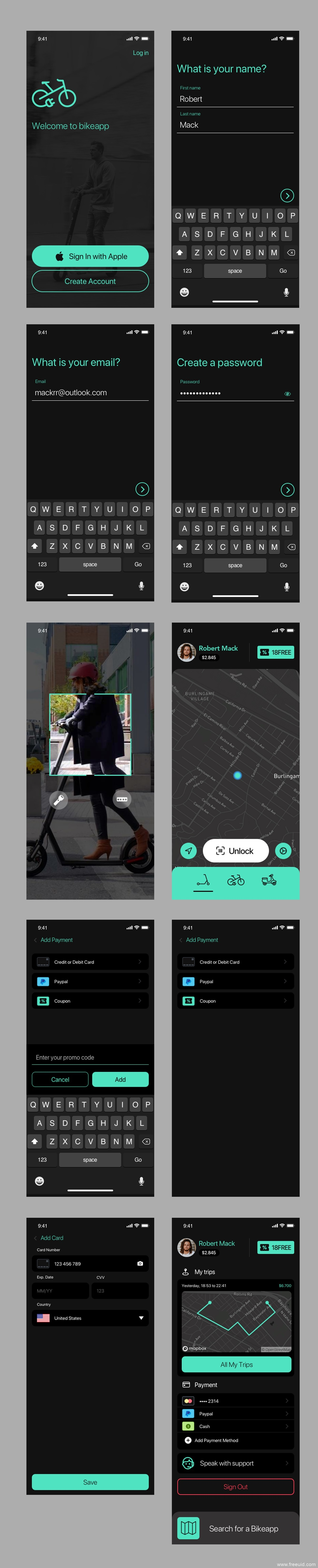 共享单车应用UI应用界面sketch源文件下载