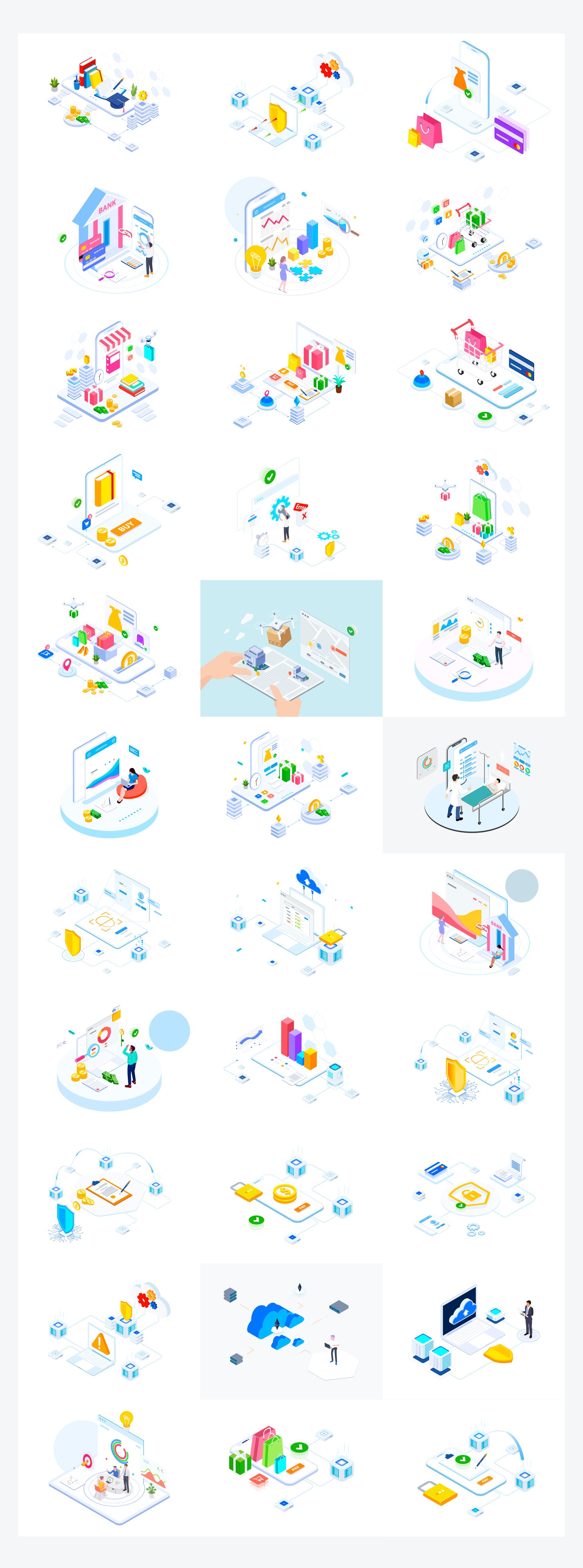 2.5D插画互联网科技商用场景矢量AI源文件
