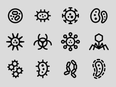 新冠病毒线性图标sketch源文件免费下载