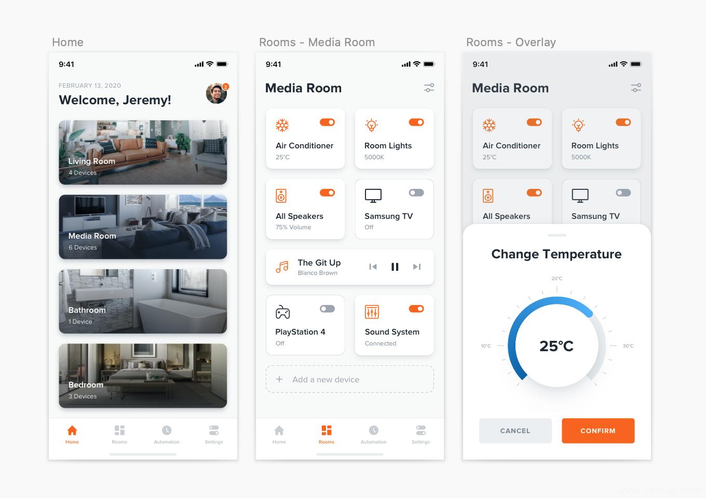 智能家电app界面、电器控制台UI界面sketch源文件下载