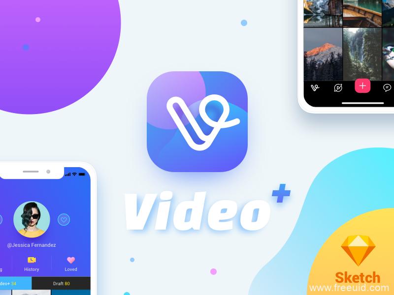 视频展示UI应用界面、视频社交app界面sketch源文件下载