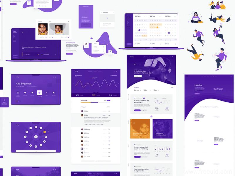 紫色系运动健身、健身交流社交UI应用界面sketch源文件下载