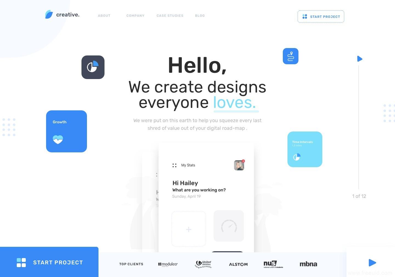 网页端首屏界面设计、web UI界面sketch源文件免费下载