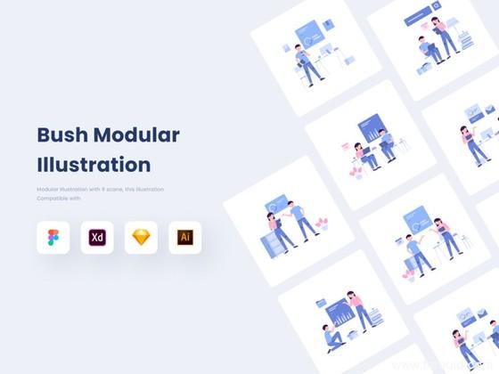超强大组件化运营插画系统源文件,包含.fig .ai .sketch .xd四种格式源文件插画组件系统