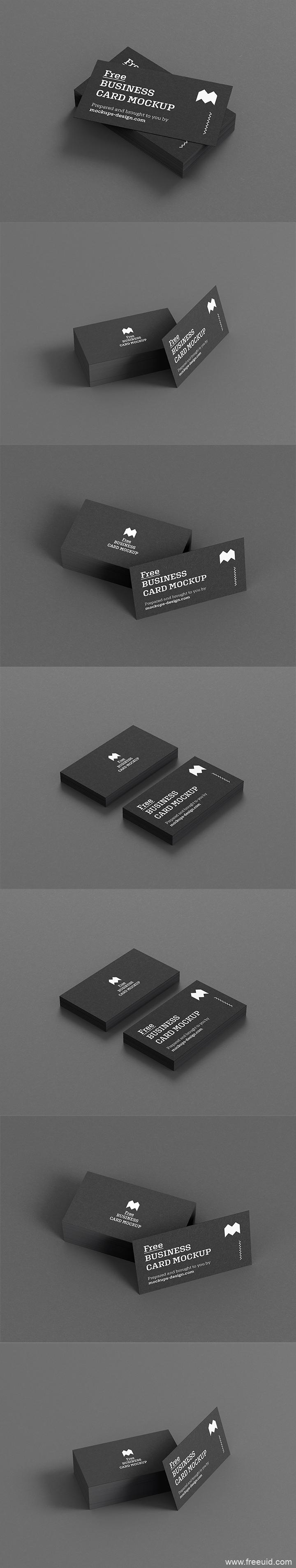 黑色高端商务名片展示模板,名片psd源文件展示模板