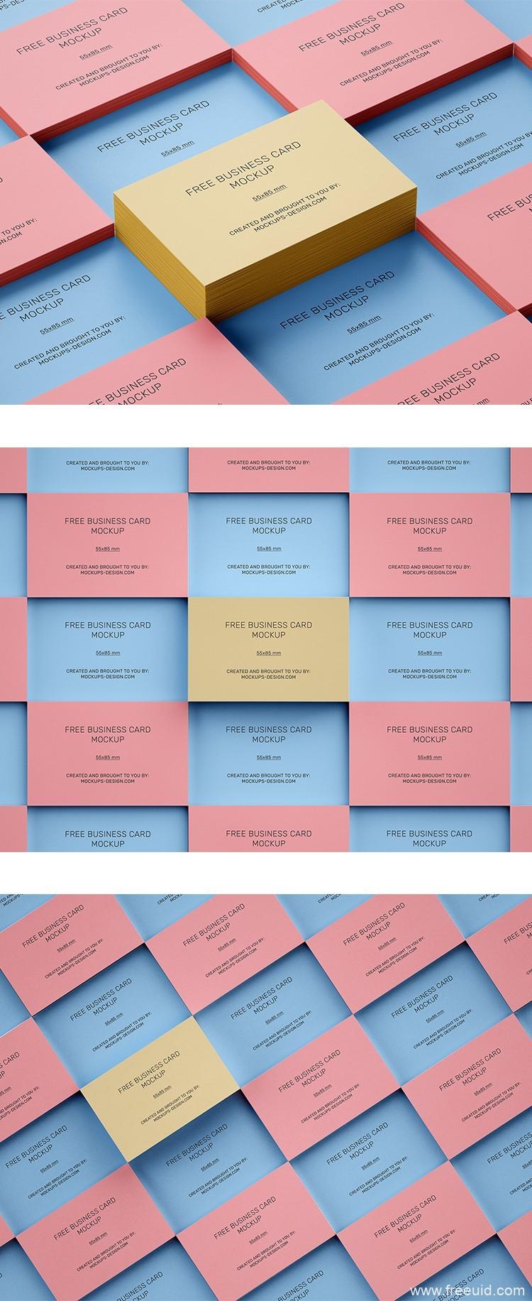 彩色系平铺卡片、名片样机模板psd源文件免费下载