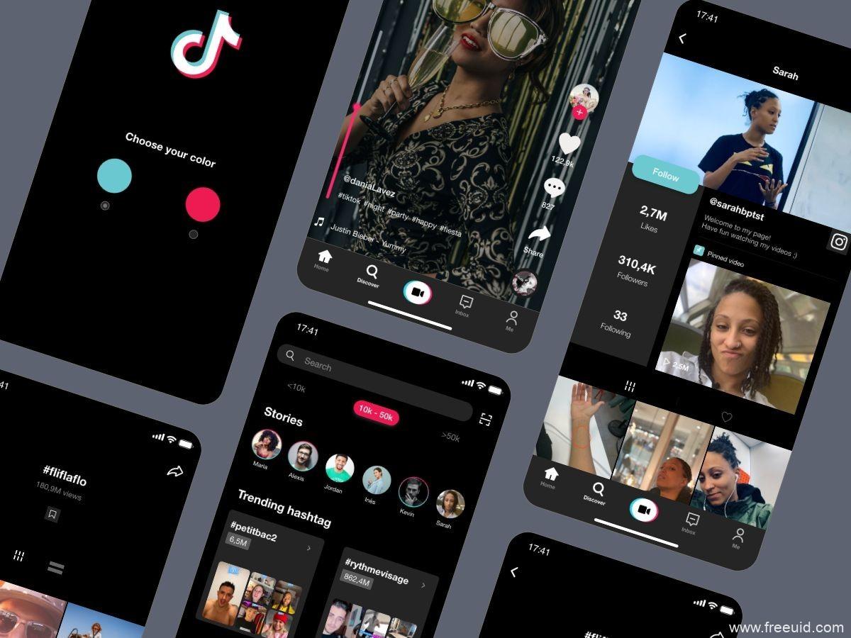 抖音短视频APP 海外版TikTok 重设计UI源文件下载,抖音UI资源下载,抖音UI素材xd源文件