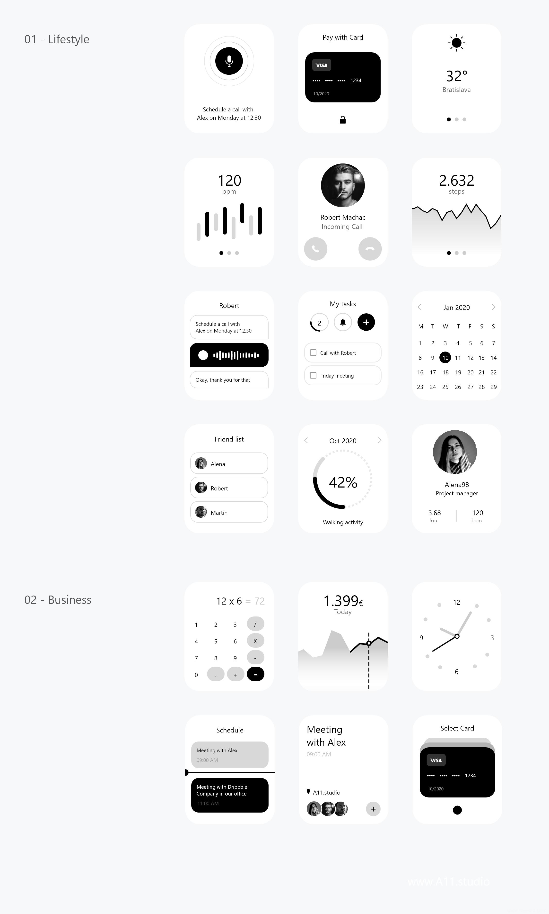 黑白简约风apple watch手表UI kit,手表UI源文件,UI素材下载sketch源文件