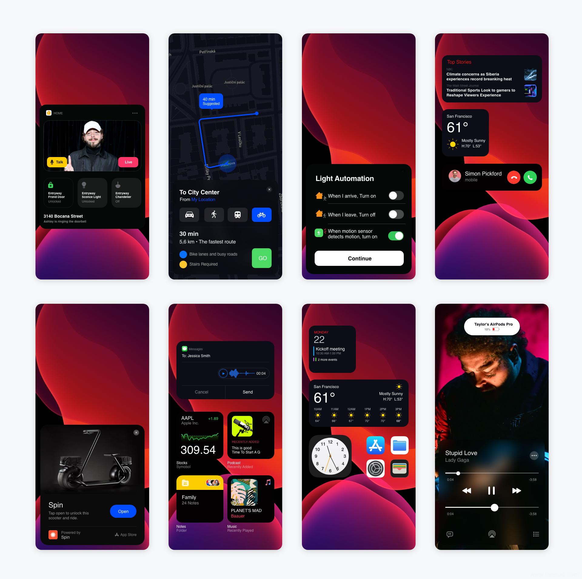 2020 苹果最新iOS14 UI素材下载,iOS14 UI组件UI源文件xd源文件下载