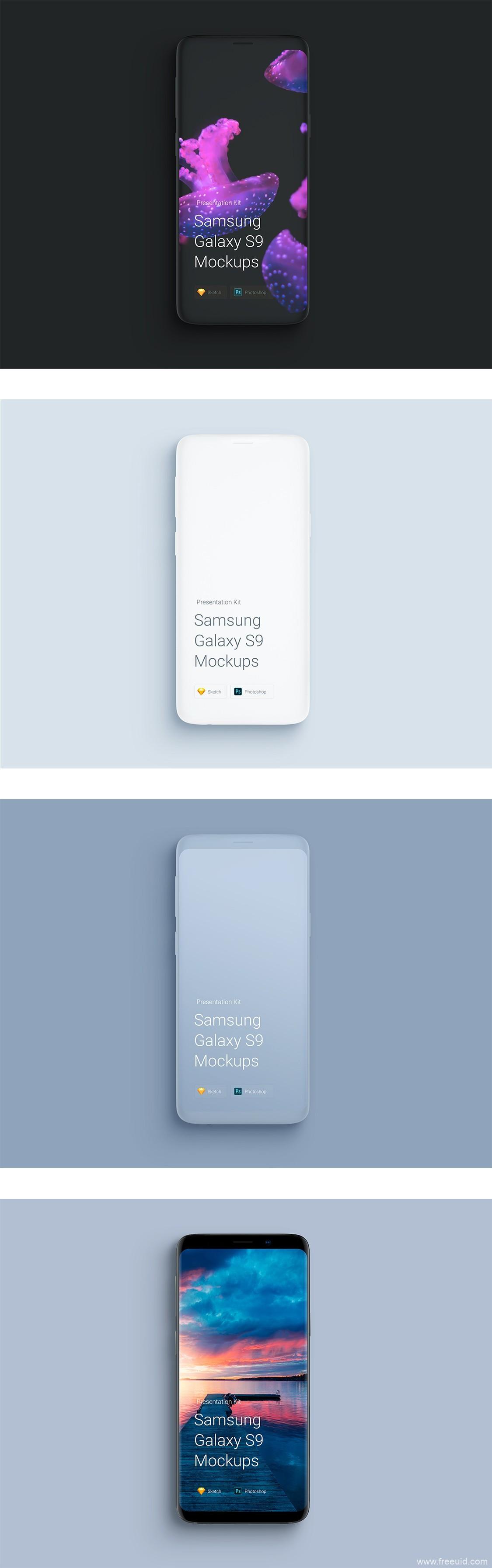 samsung-galaxy-s9-mockup手机展示样机psd、sketch模板源文件下载