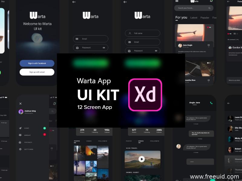 暗色模式新闻app UI源文件,dark mode阅读APP UI资源下载,新闻阅读APP UI .xd源文件