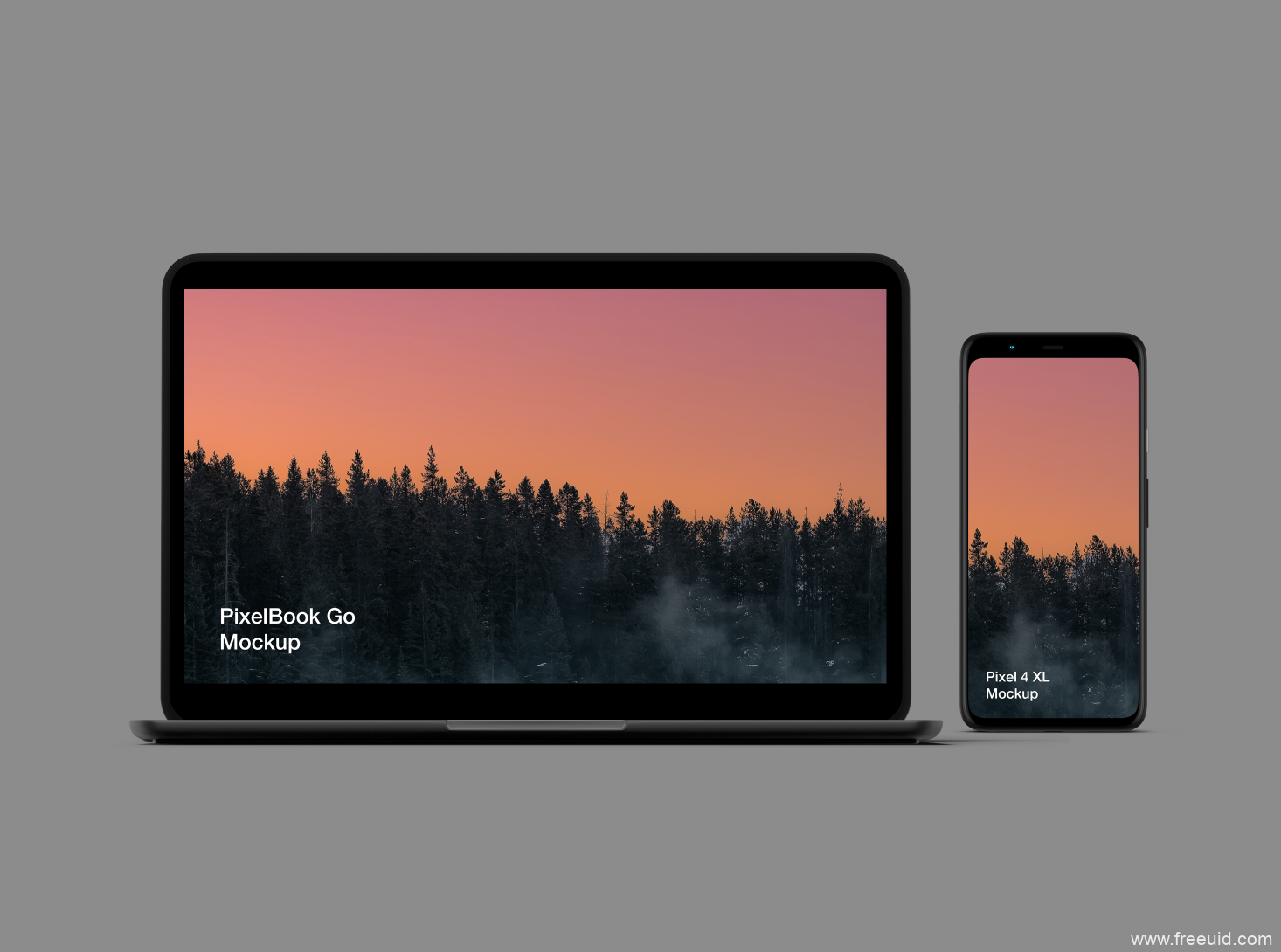 PixelBook+Pixel电脑+手机展示模板psd、sketch源文件下载
