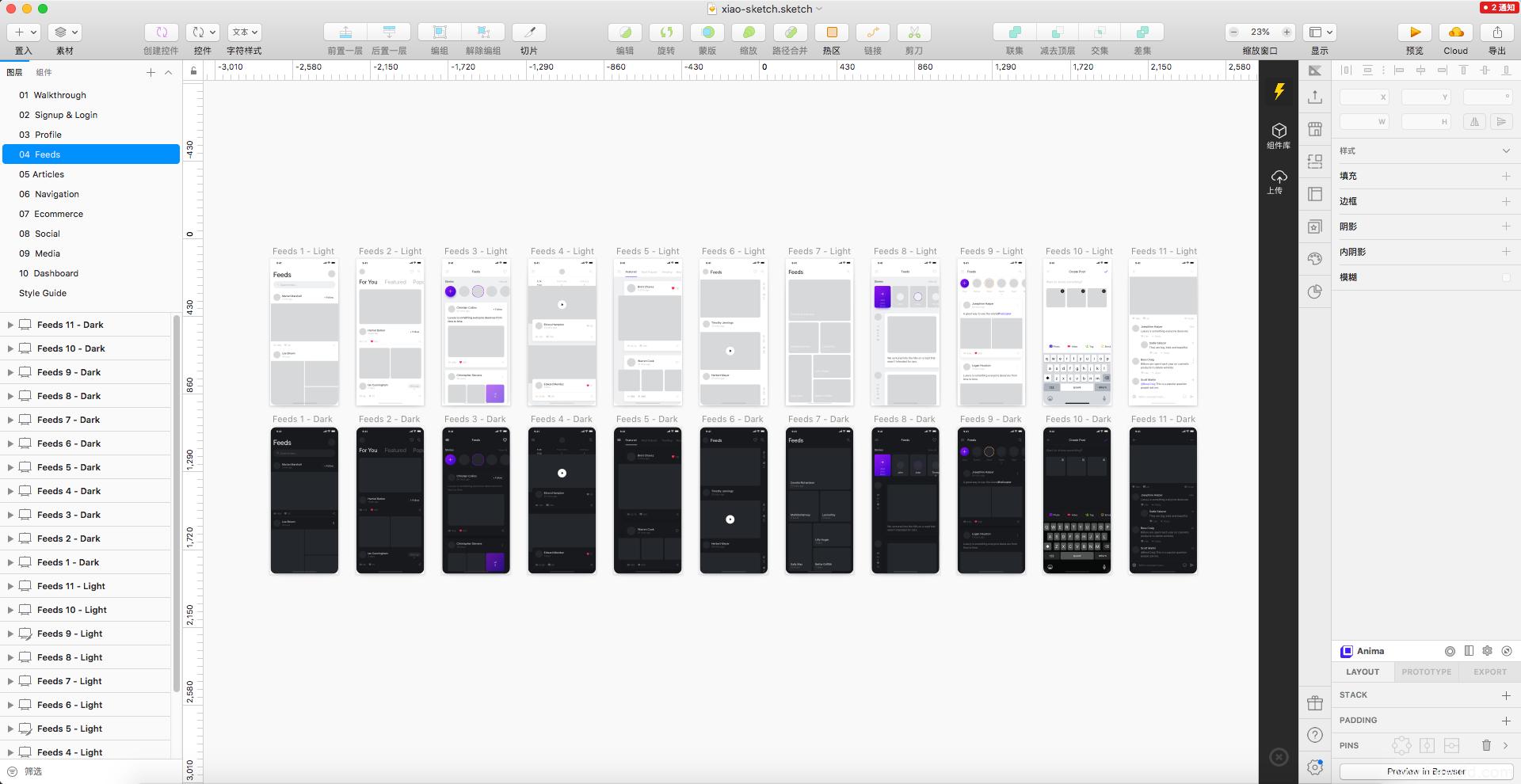 精选:超过200个页面超全UI KIT模板包,分暗色模式跟亮色模式两种风格,UI设计师必备