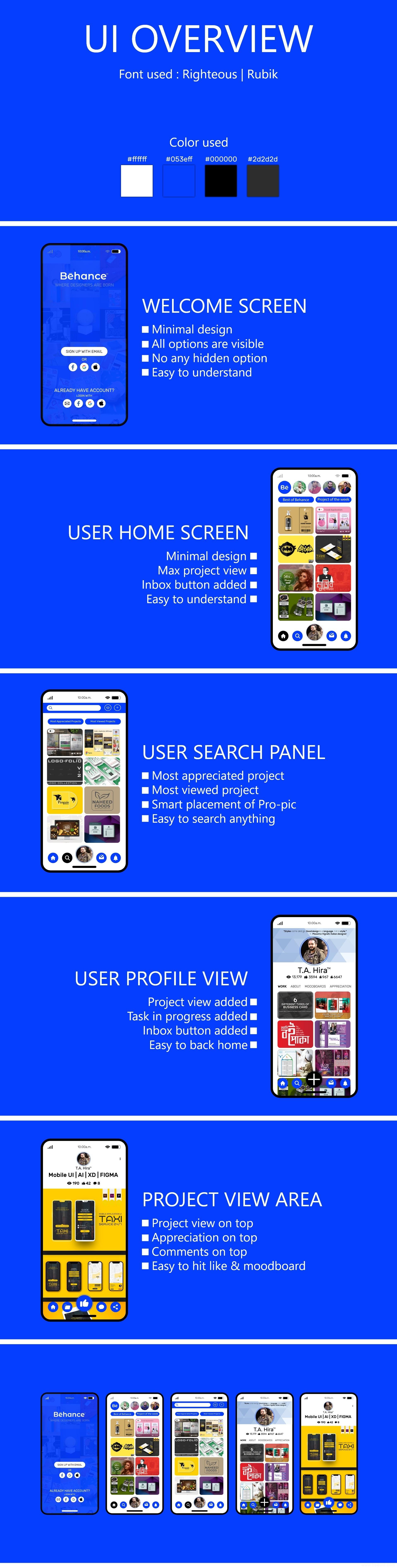 behance UI重设计,作品展示app UI界面设计,UI素材下载xd源文件