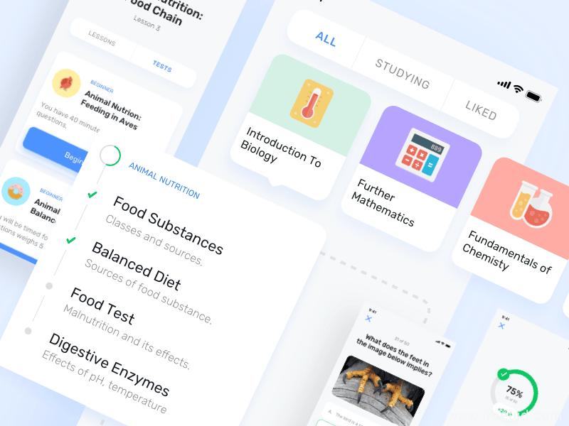 教育、在线教学类App UI界面sketch源文件下载(内含字体包)