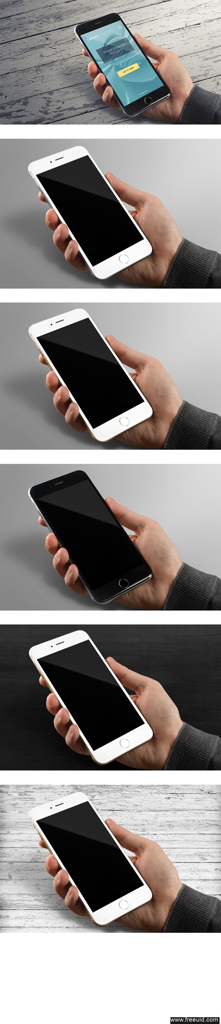 iphone 6手机多款样机模板psd源文件下载(可自换背景)