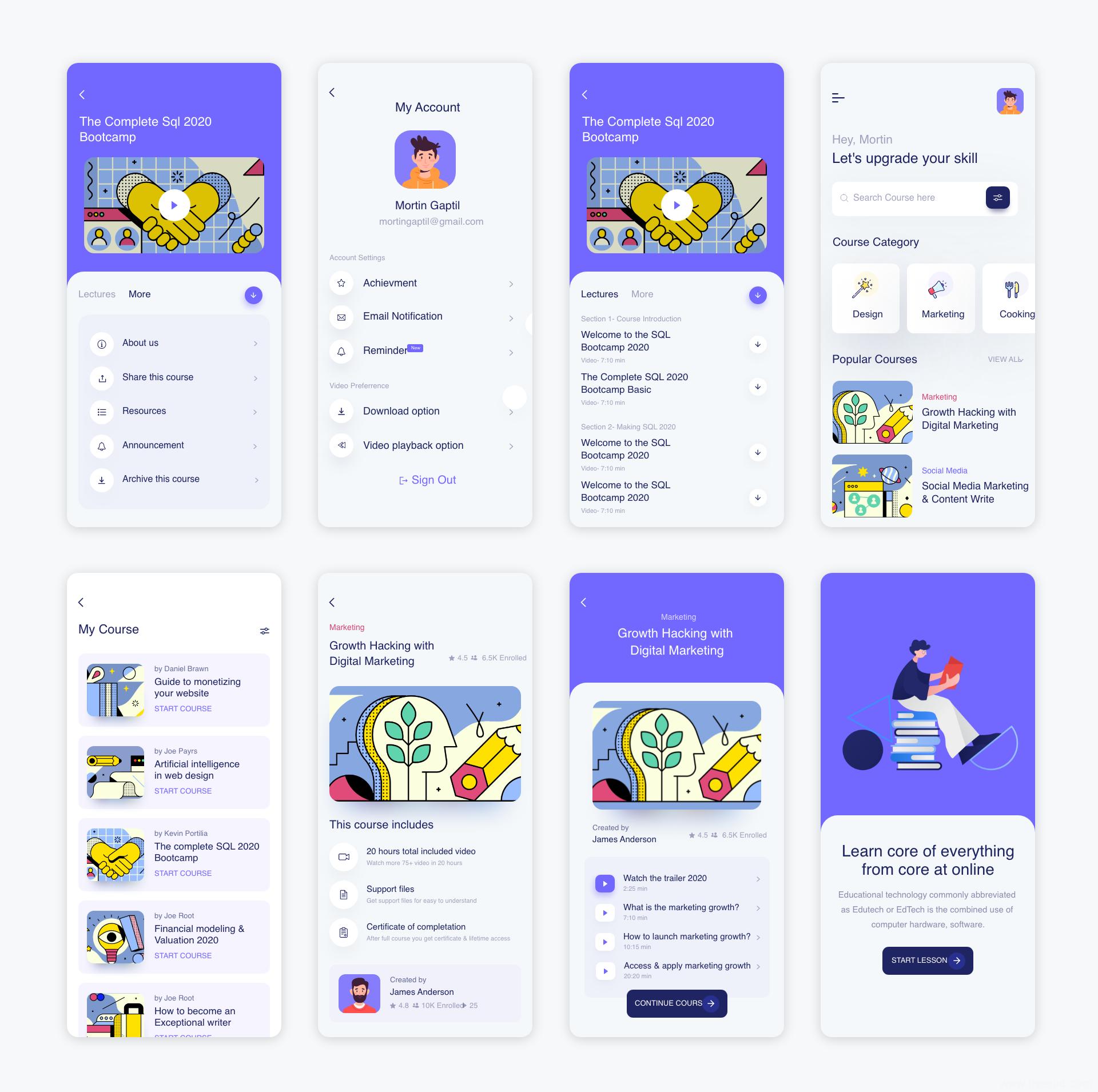 K12在线教育app UI源文件下载,教育UI资源下载,线上教育UI素材xd源文件