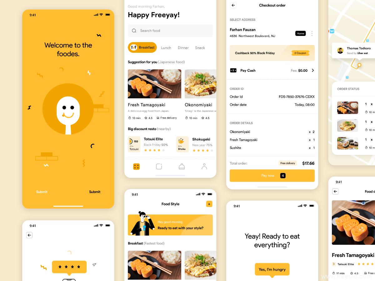 美食APP UI源文件下载,外卖app UI素材下载,美食外卖UI模板figma源文件下载