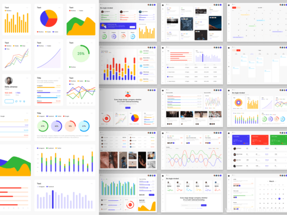 UI设计师必备:超全色彩丰富仪表板用户界面工具包、数据可视化dashboard仪表盘UI源文件sketch下载