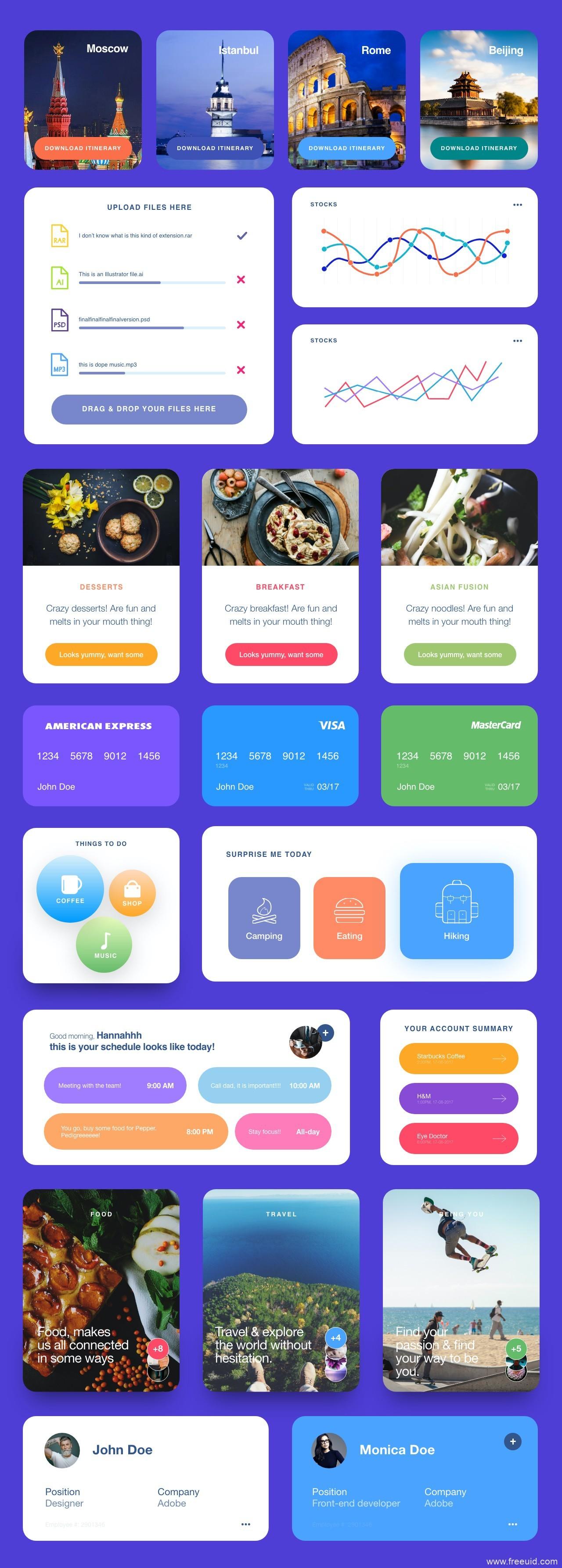 一组最新大圆角卡片风UI源文件下载,大圆角UI素材下载,卡片UI资源xd源文件
