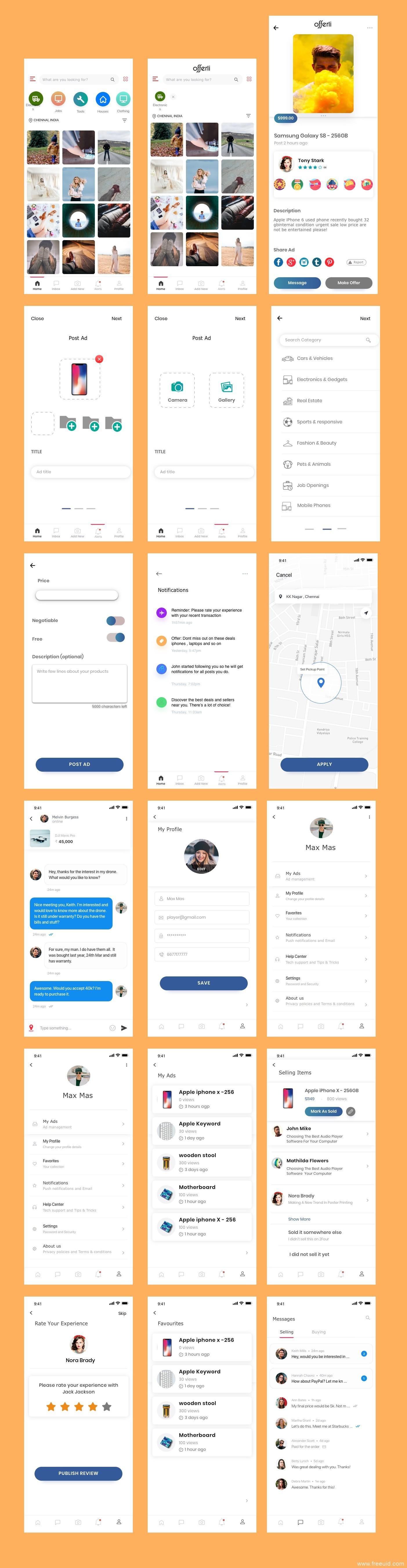 Ins风照片分享、社交、买卖App应用 UI 界面sketch源文件下载