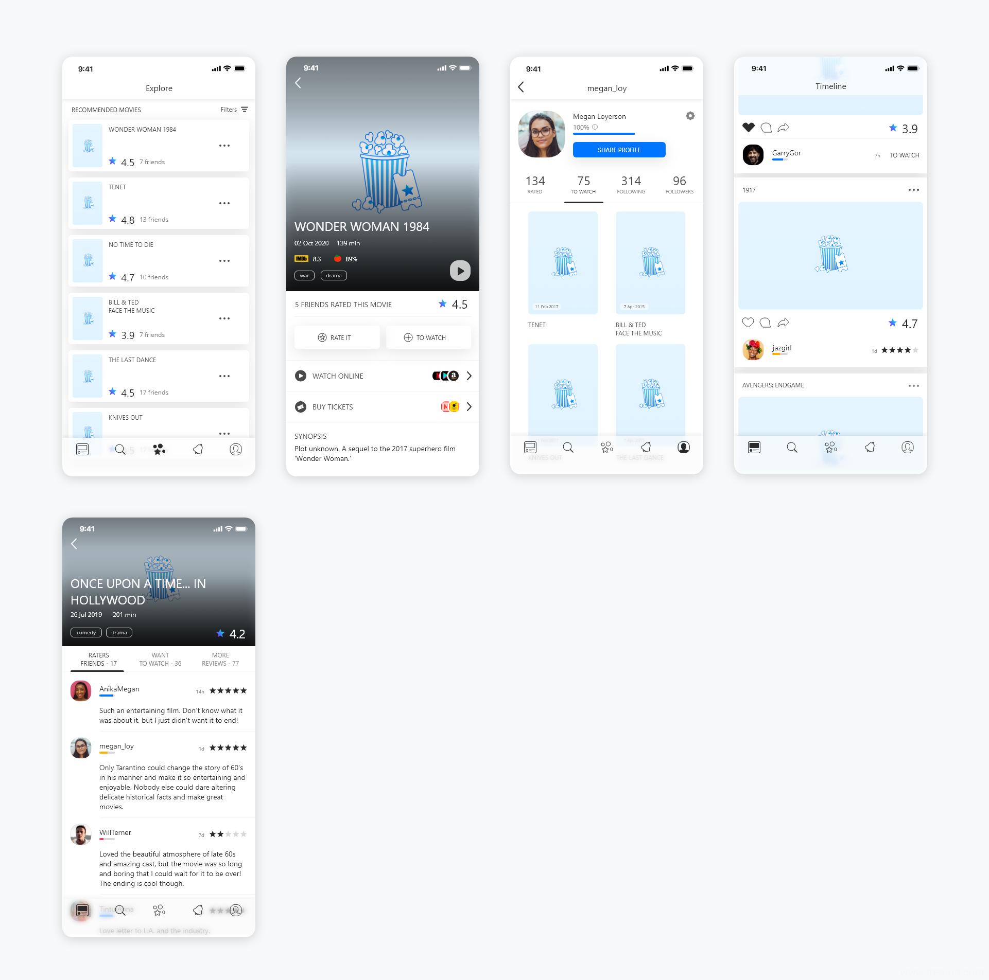 一套影评APP UI资源下载,电影APP UI源文件下载,社交app UI素材sketch源文件下载
