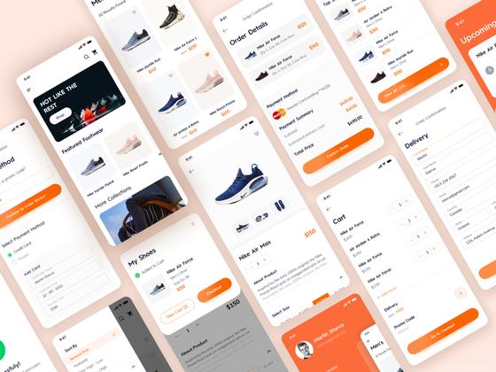 最新鞋类商城UI kit UI源文件下载,鞋子电商UI界面设计UI资源下载,鞋商城app UI素材 sketch源文件