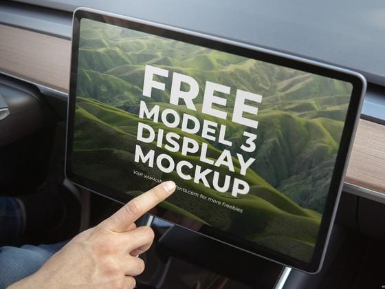 model 3  大屏Tesla 特斯拉 车载中控屏mockup样机模板 .psd素材下载