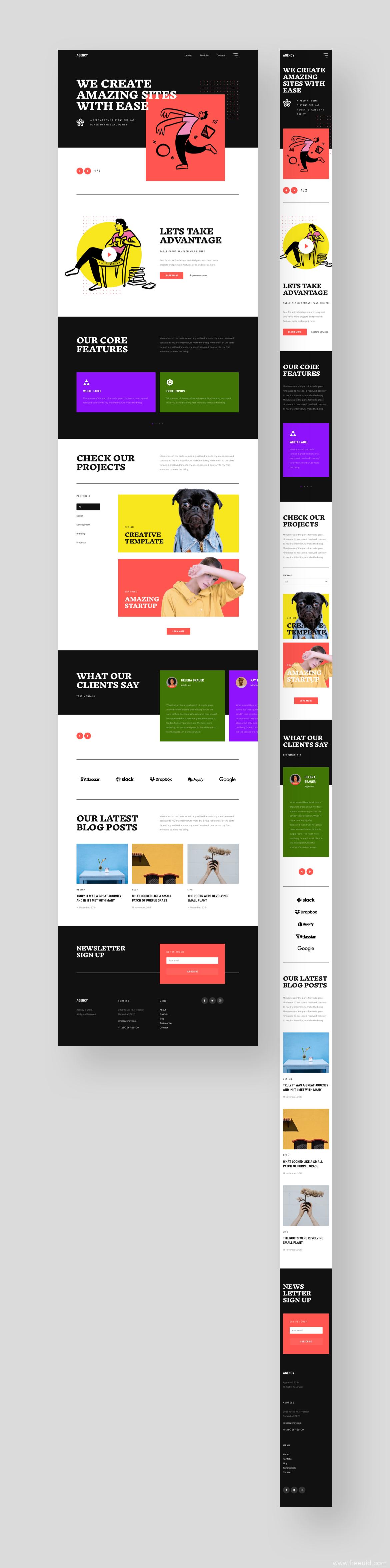 设计师作品展示网站模板源文件,作品集网站UI源文件,xd、sketch、figma源文件