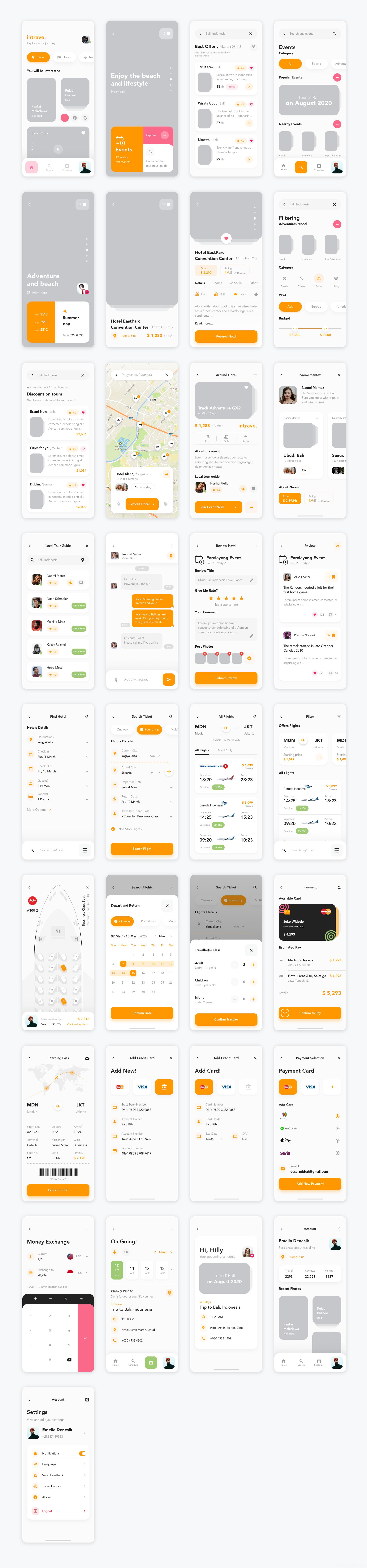 旅游app UI源文件下载,机票预定APP UI资源下载,旅游、酒店预定APP UI素材下载,订票app sketch源文件figma源文件