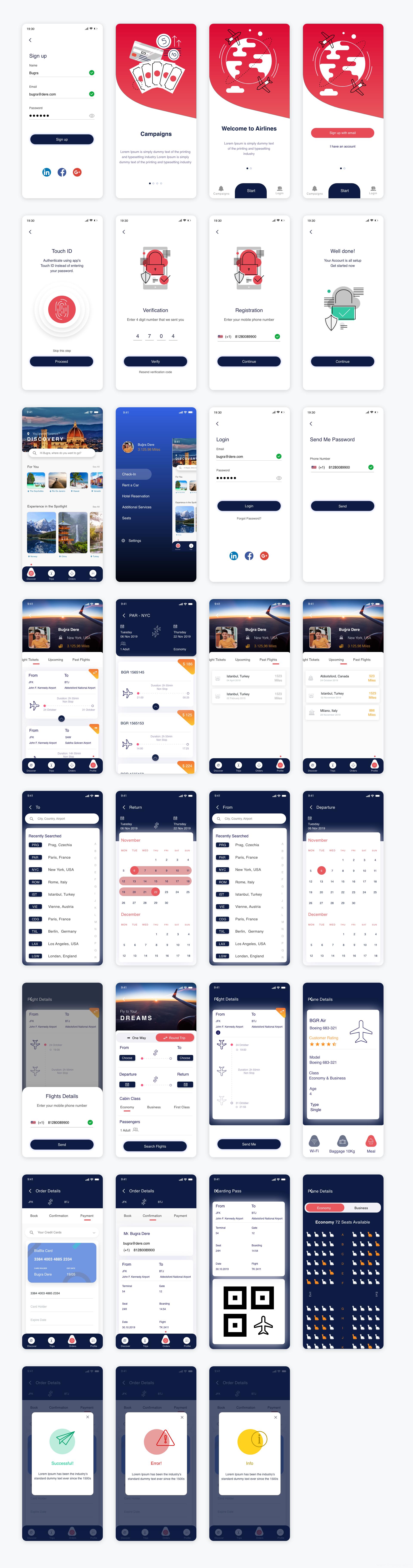 最新全套机票预定APP UI界面设计源文件,旅游机票预定APP UI源文件xd源文件下载