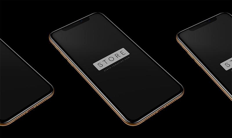 iPhone XS土豪金手机模板Mockups