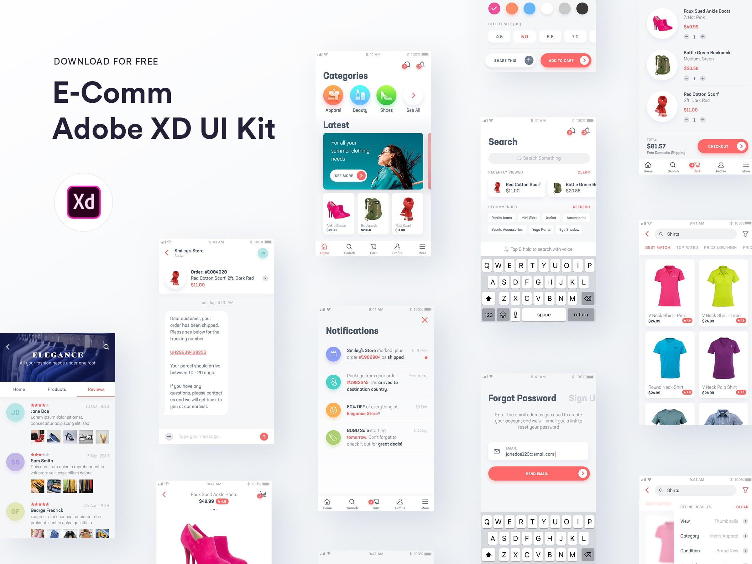 电商app ui kit .xd素材下载