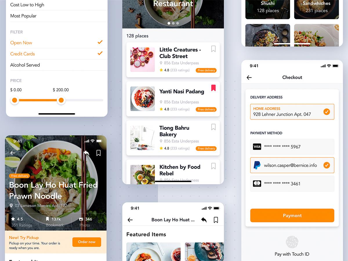 买菜app,美食外卖生鲜类APP订单流程UI源文件模板