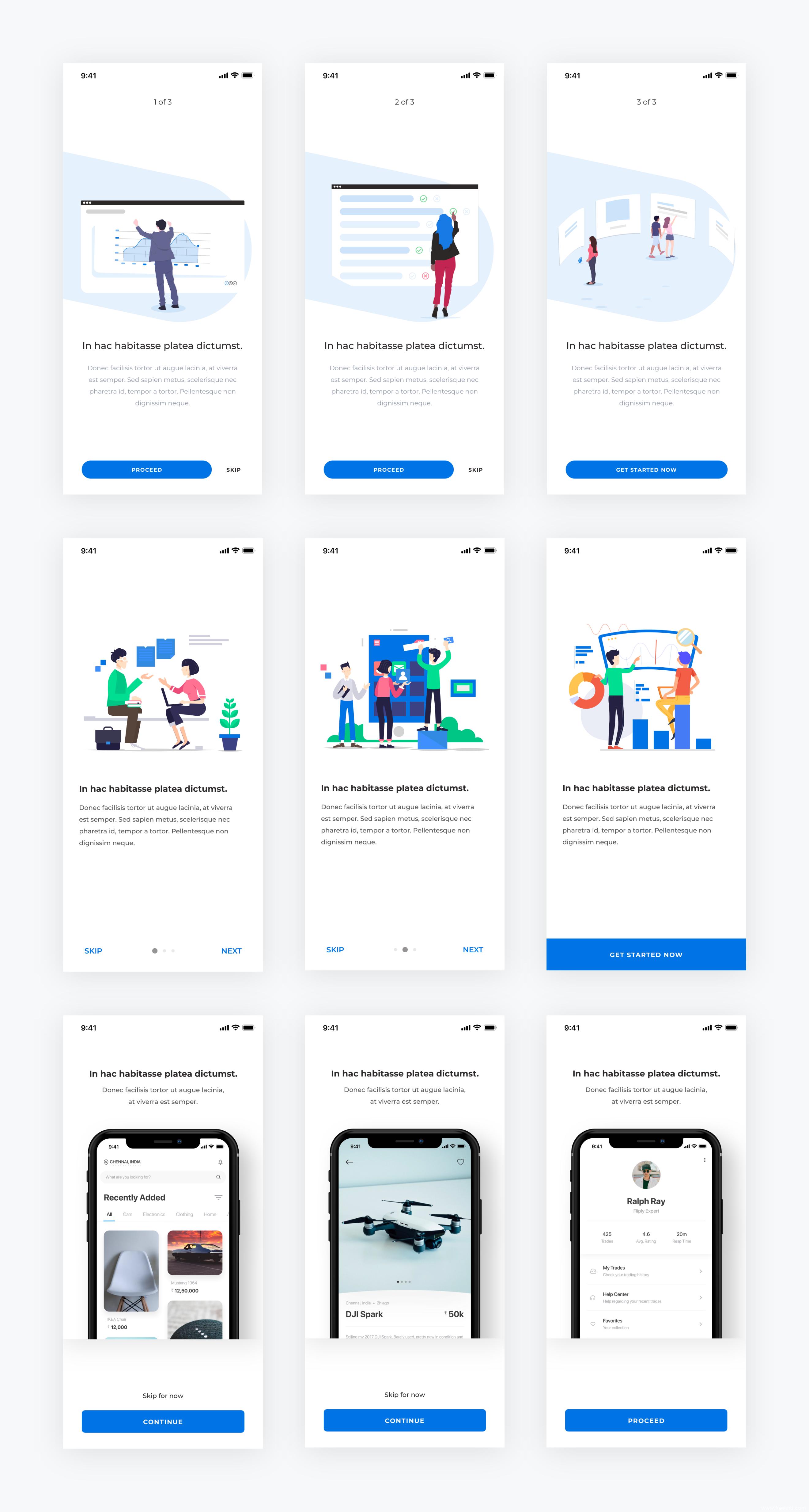 APP引导页、启动页插画UI风格设计,sketch源文件