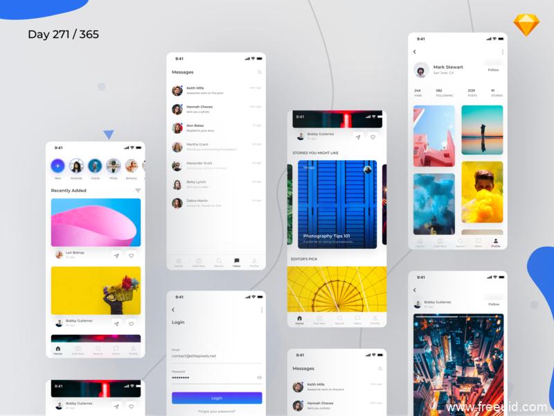 社交类简约风格APP模板,扁平化UI,sketch源文件
